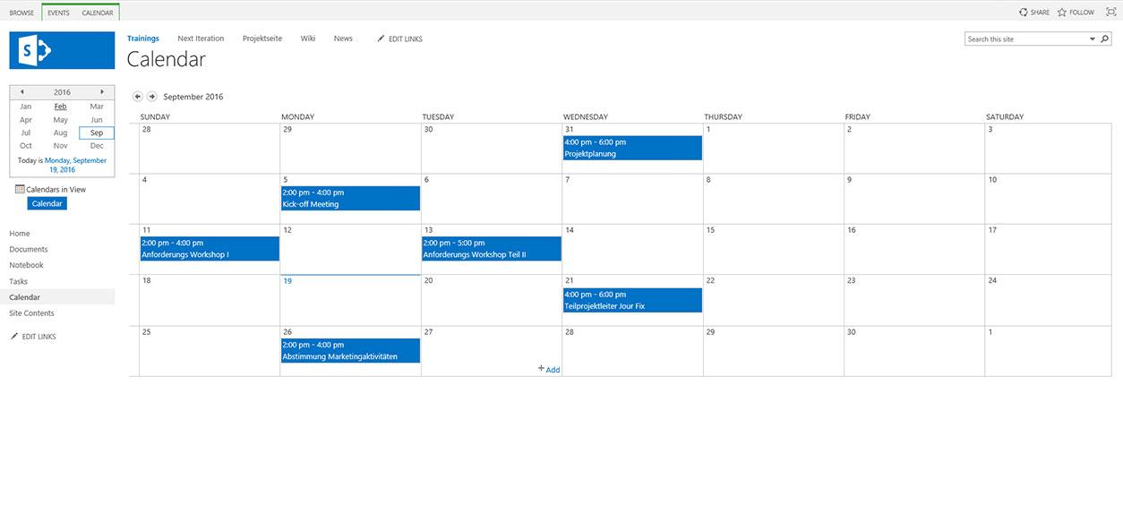 SharePoint 2016 – Projektkalender