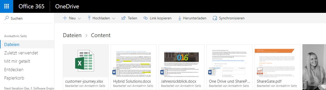 OneDrive for Business Oberfläche