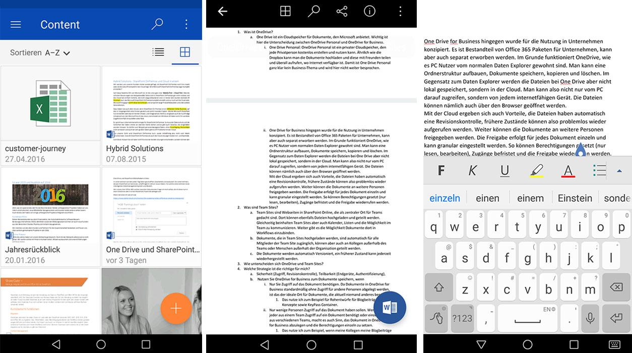 Zugriff auf OneDrive for Business über ein Smartphone. Das Dokument kann eingesehen und bearbeitet werden.