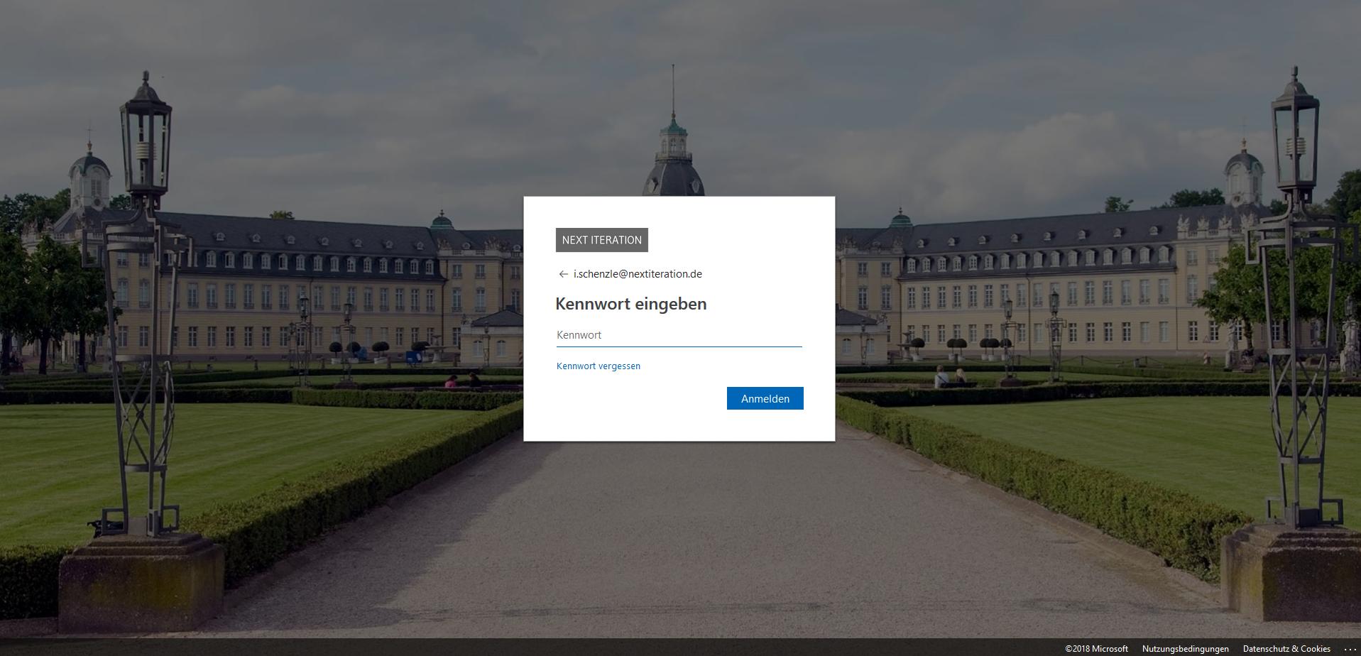 Microsoft 365 Login individueller Hintergrund