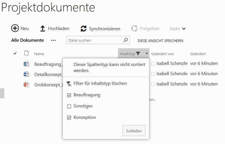 In SharePoint nach Inhaltstypen filtern