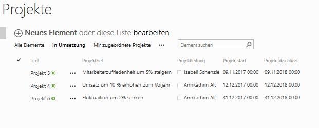 """Filterung des Projektstatus auf Projekte, die aktuell """"In Umsetzung"""" sind mit Sortierung nach Projektabschluss"""