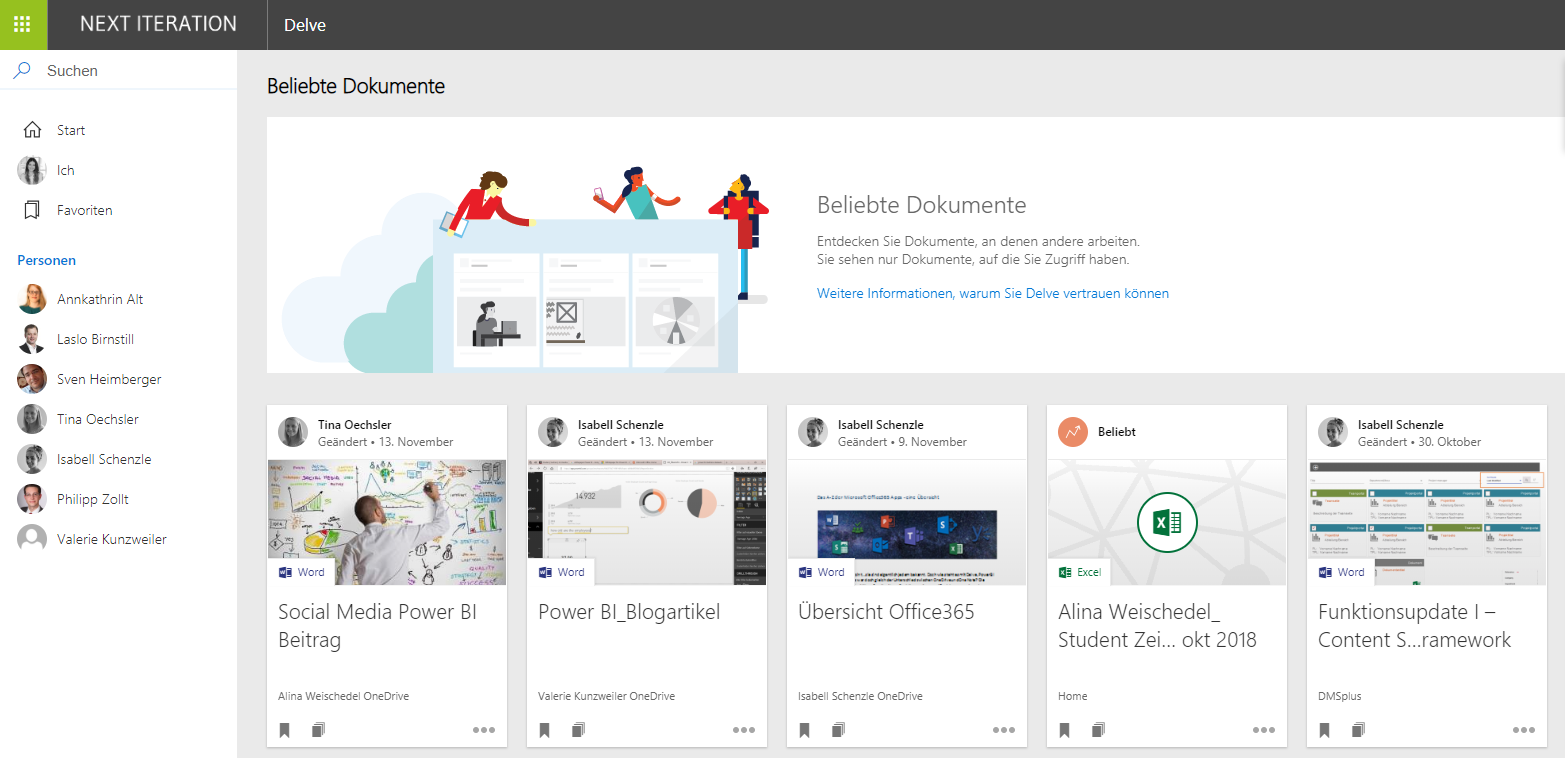 Delve Profil Office365 App