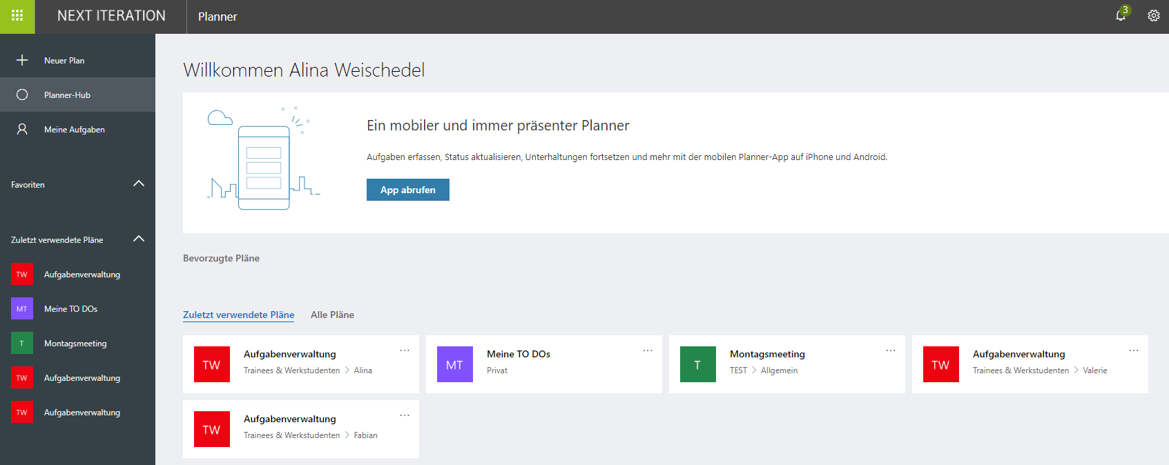 Microsoft Planner Oberfläche