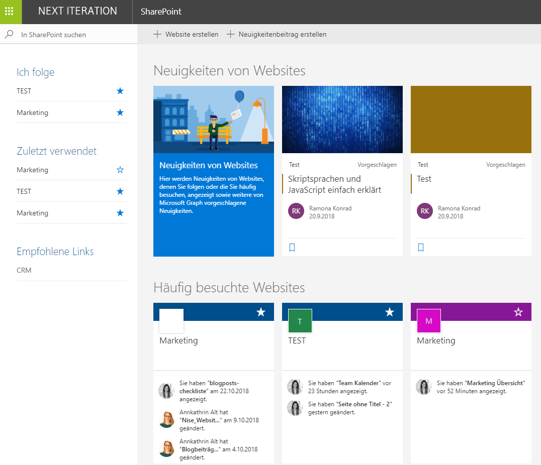Microsoft Sharepoint Oberfläche